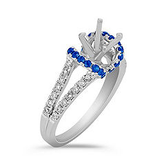 Round Sapphire and Diamond Engagement Ring with Pavé Setting