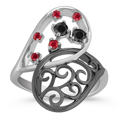 Round Ruby and Black Sapphire Ring