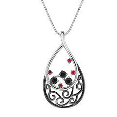 Round Ruby and Black Sapphire Pendant (18)