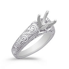 Engraved Swirl Vintage Solitaire 14k White Gold Engagement Ring