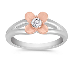 Flower Diamond Ring in Sterling Silver and Rose Gold