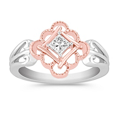 Princess Cut Diamond Ring in 14k White and Rose Gold