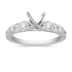 Pave 14k White Gold Engagement Ring with 64 Diamonds