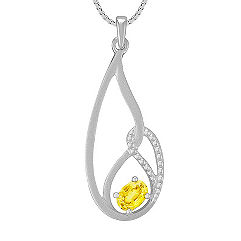 Oval Yellow Sapphire and Sterling Silver Pendant (18 in.)