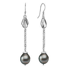 10mm Cultured Tahitian Pearl and Sterling Silver Earrings