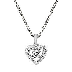 Round Diamond and Sterling Silver Heart Pendant (18 in.)