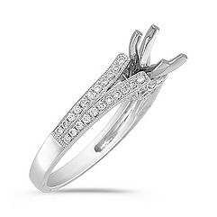 Split Shank Cathedral Diamond Platinum Engagement Ring with Pavé-Setting