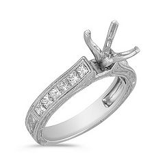 Vintage Cathedral Princess Cut Diamond Engagement Ring with Channel Setting