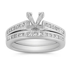 Cathedral Princess Cut Diamond Wedding Set with Channel Setting - 5/8 ct. t.w.
