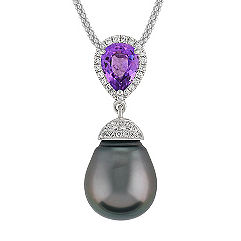 11mm Cultured Tahitian Pearl, Pear Shaped Lavender Sapphire, and Round Diamond Pendant (22)