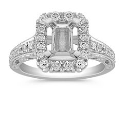 Vintage Halo Engagement Ring with Pave Setting