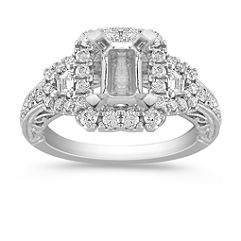 Vintage Halo Engagement Ring with Pave-Set Baguette and Round Diamonds