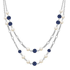 Sodalite, 6mm Cultured Freshwater Pearl and Sterling Silver Necklace (25 in.)