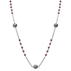 Garnet, 9mm Cultured Tahitian Pearl and Sterling Silver Necklace (32 in.)