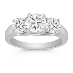 Round Diamond Three-Stone Ring - 2 ct tw