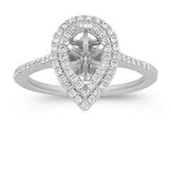 Pear Halo 14k White Gold Engagement Ring with 78 Pave Set Diamonds