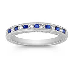 Round Sapphire and Diamond Platinum Wedding Band