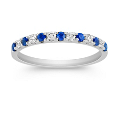 Sapphire and Diamond Platinum Wedding Band