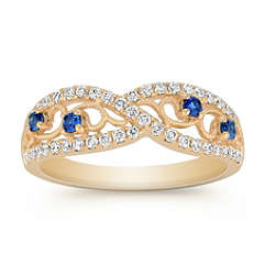 Vintage Round Sapphire and Diamond Ring