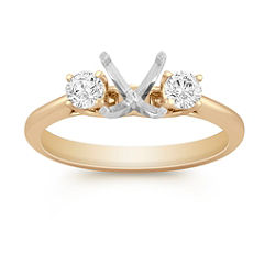 Three-Stone Round Diamond Engagement Ring in Yellow Gold - 1/3 ct. t.w.