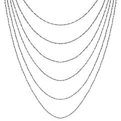 Sterling Silver Multiple Chain Necklace (18 in.)
