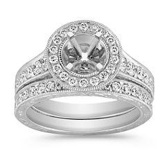 Vintage Platinum Halo Diamond Engagement Ring with Pave Setting