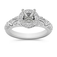 Halo Vintage Round Diamond Enagement Ring with Pave Setting