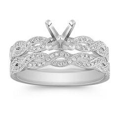 Swirl Diamond Platinum Wedding Set