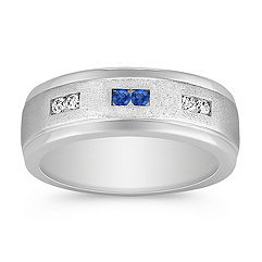 Sapphire and Diamond White Gold Ring with Channel Setting (8mm)