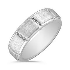Brushed and Engraved 14k White Gold Ring (7mm)