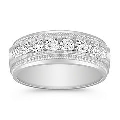 Eight Stone Diamond Ring with Milgrain Detailing and Channel Setting
