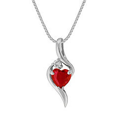 Heart-Shaped Ruby Pendant with Single Diamond Accent in 14k White Gold (18 in.)
