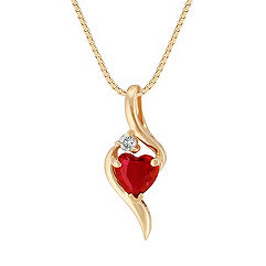 Heart-Shaped Ruby Pendant with Single Diamond Accent in 14k Yellow Gold (18 in.)
