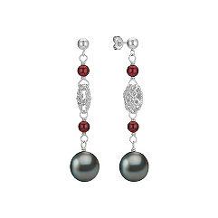 9mm Cultured Tahitian Pearl, Garnet, and Sterling Silver Dangle Earrings