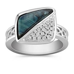 Freeform Blue Green Sapphire and Round Diamond Ring