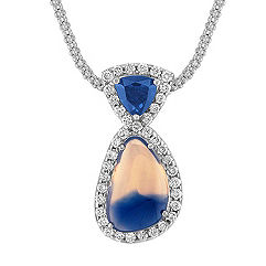 Freeform Multi-Colored Sapphire, Trillion Sapphire, and Round Diamond Pendant (18 in.)