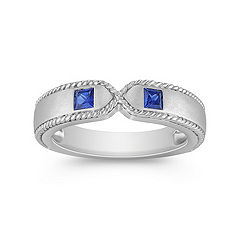 Princess Cut Sapphire Ring with Sandblasted Finish
