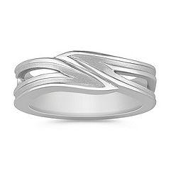 14k White Gold Swirl Ring (8mm)