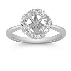Round Diamond Ring with Pave Setting