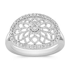 Round Diamond Floral Ring