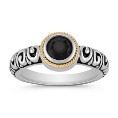 Black Agate, Sterling Silver and 18k Yellow Gold Ring