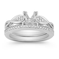 Swirl and Cluster Diamond Wedding Set with Pave Setting