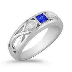Princess Cut Sapphire Ring with Bezel Setting (7mm)