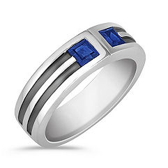 Square Cut Sapphire Ring with Bezel Setting