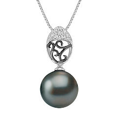 11mm Cultured Tahitian Pearl and Round Diamond Pendant (18)
