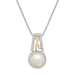 6.5mm Cultured Akoya Pearl and Round Diamond Pendant in Two-Tone Gold (18 in.)