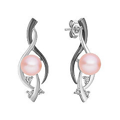 7mm Cultured Pink Freshwater Pearl, Diamond and Black Rhodium Earrings