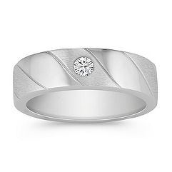 Sandblasted Round Diamond Ring with Bezel Setting
