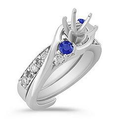 Swirl Round Sapphire and Diamond Wedding Set
