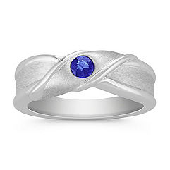 Round Sapphire Ring with Bezel Setting and Satin Finish
